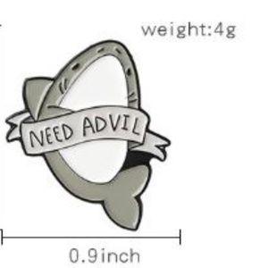 Need Advil Shark Pin Brooch